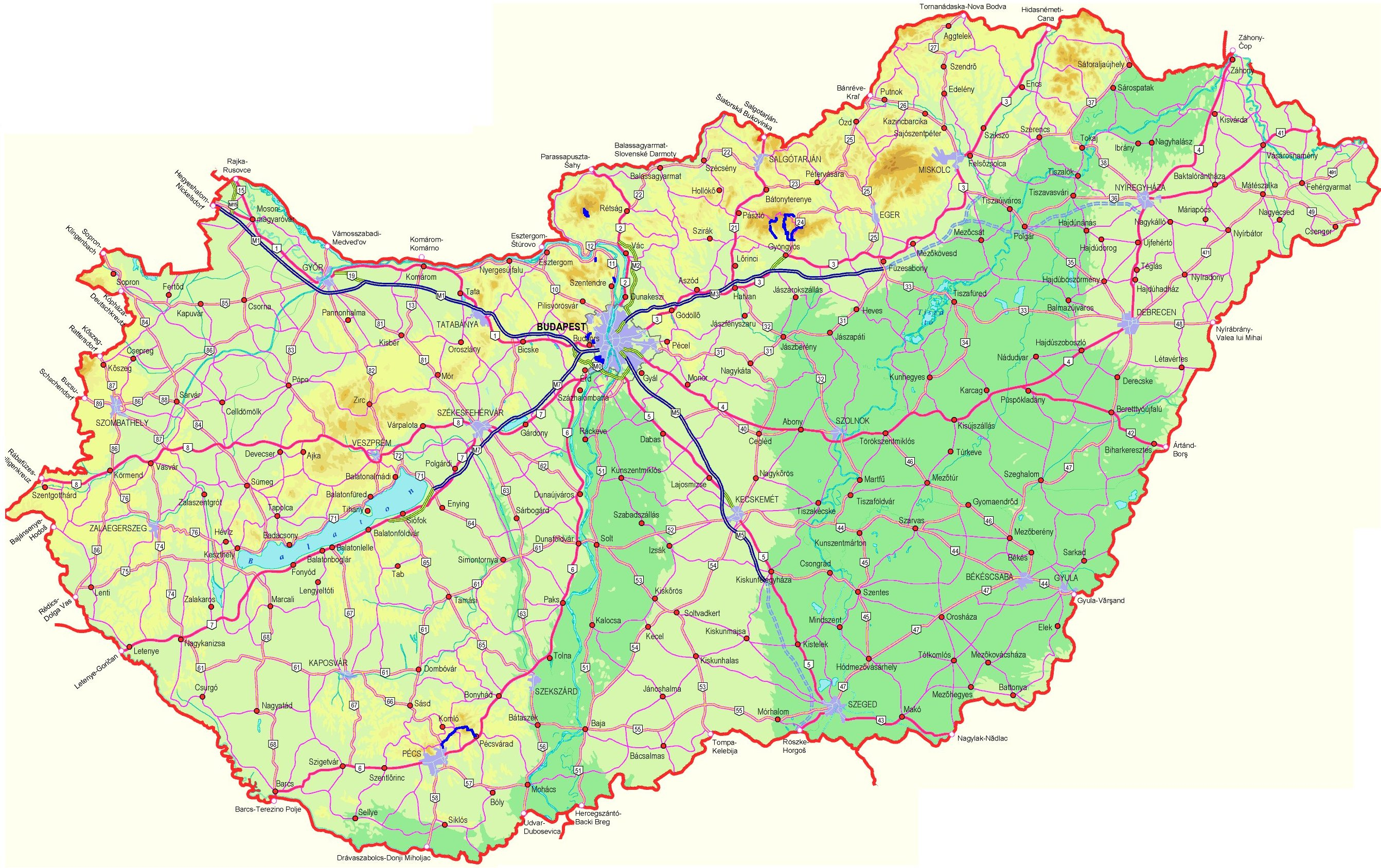 online térkép Online térképek: Magyarország domborzati térkép 2., Mecsek online térkép