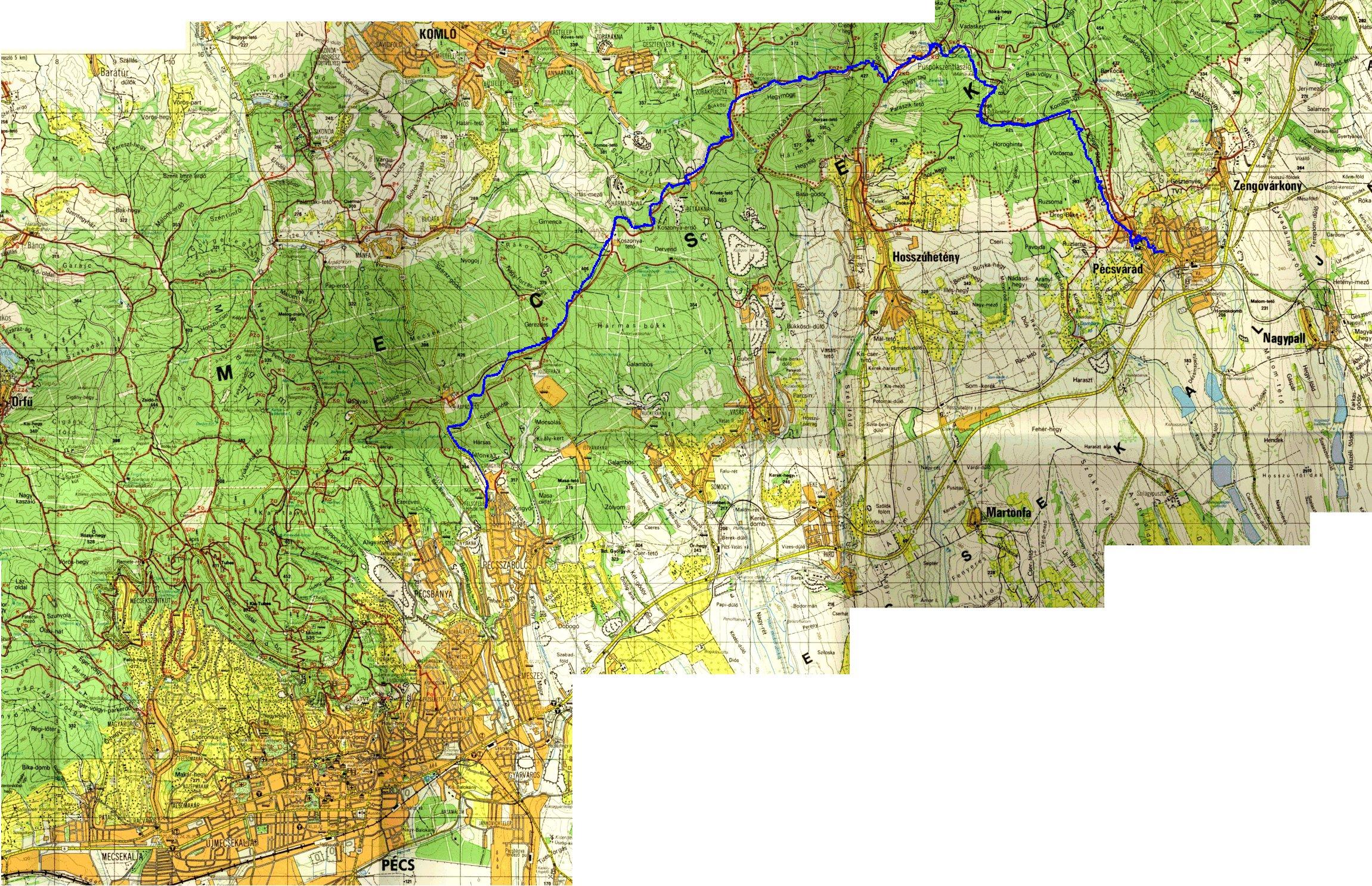 pécs domborzati térkép PÉCS   GYALOGLÁS A MECSEKBEN pécs domborzati térkép